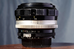 The 55mm f/1.2 from the side. This sample has the factory AI conversion enabling metering on cameras that support AI metering, such as the